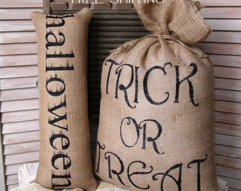 Lg. Burlap Halloween Decorations-FREE SHIPPING- Burlap -Burlap Halloween Pillows-Halloween Decorations-Trick or Treat decorations-Burlap