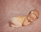 Grey & Pink Soft tie back with moss  Newborn photography Prop Headband