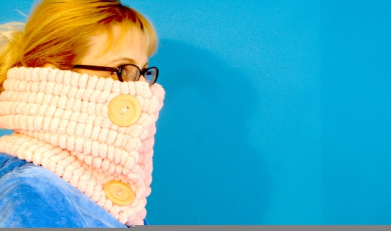SALE - Buttoned Cowl - two-button, extremely soft, bobble cowl / scarf - dark blue, light blue, soft pink