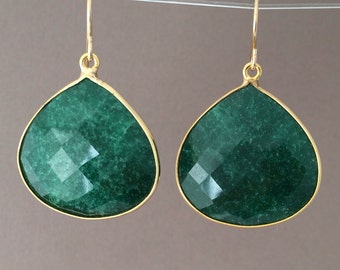 Dark Green Onyx Teardrop Earrings