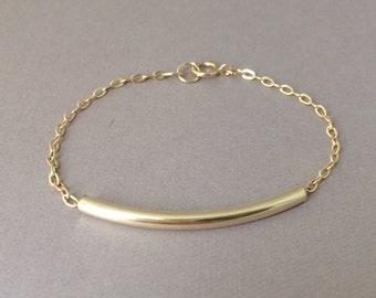 Gold Fill Curved Bar Bracelet