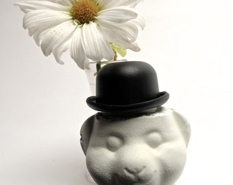 Bowler Bear: small concrete sculpture  painted warm white, paperweight, bookshelf curio