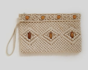Crochet Festival Bag Clutch Vintage Cream Crochet Beaded Bag Purse Wallet Ipad Case Gift for her VTG Boho Hippie Gypsy