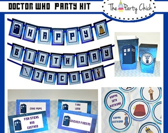 Doctor Who, 9, 10 and 11 Doctor, Party Invitations & Decorations - Printable Party Kit - Editable Text you personalize  - Instant Download