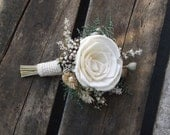 Sola Rose Boutonniere with Dried Flowers MADE TO ORDER