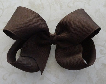 Brown Twisted Boutique Bow - 4 inch Bow - Baby Hairbow - Girls Hairbow