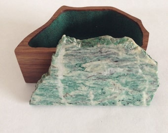 Wooden Box with Stone Lid - Green and White Stone