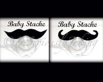 Mustache Pacifier Set-Baby Mustache-Gender Reveal Party-The Handlebar and The Wise Guy- Little Man Party- Baby Shower gift- baby gift