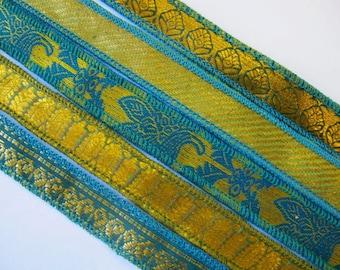 Blue Brocade Gold Silk Bracelet Ribbon, W243