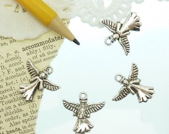 4 antique silver  angel charms