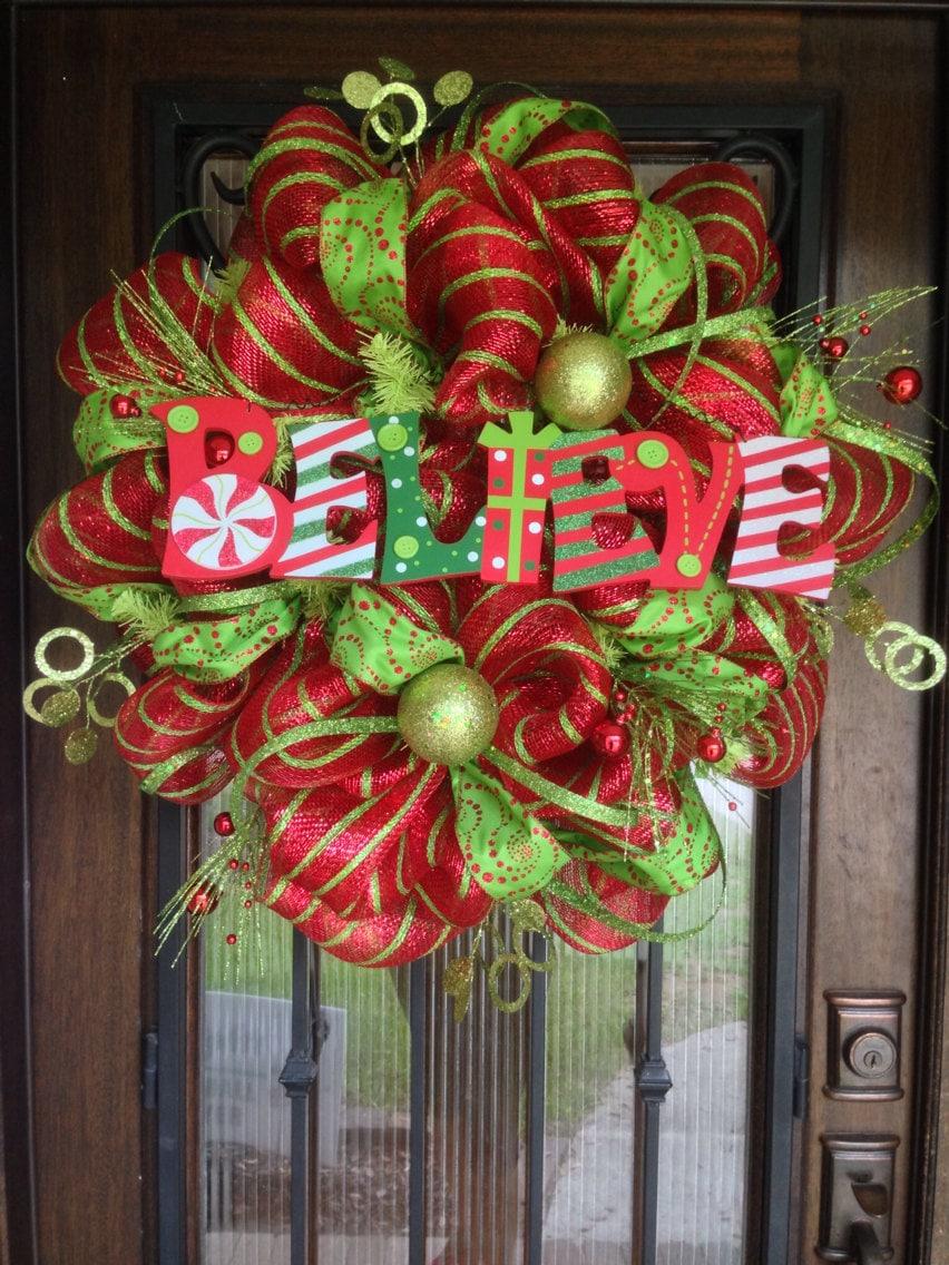 Deco Mesh Wreath For Christmas Believe