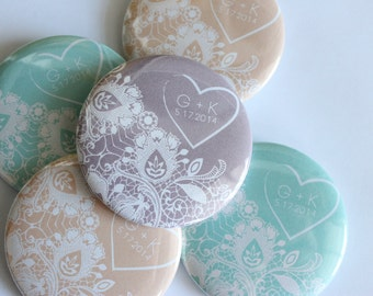 Set of 50 Vintage Lace Wedding Favor Buttons (Customizable). Rustic Wedding. Pin Back Buttons.