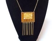 Black Walnut and Stone Fringe Necklace