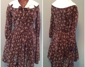 Vintage 60s Womens Chocolate Brown and White Print Day Dress Long Sleeve Full Skirt size Medium