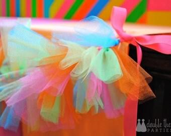 Neon Tulle Garland - Neon Party Garland - Neon Party Bunting - Tulle Neon Bunting - Tulle Neon Garland