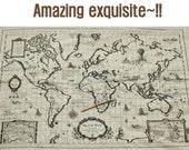 A Piece of Kawaii Zakka Cotton Linen Printed Fabric - Map of the World