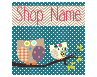 Premade Etsy Banners and Avatars shop set Patchwork Style Birds Owls Leafes and Trees 9 NOT OOAK files Ocean Blue Polka Dots Chevron Pattern