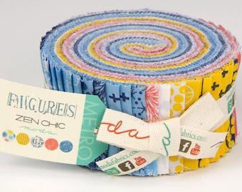 "Figures Jelly Roll by Zen Chic - 2.5"" x 44"" strips -  Bundle of 42 - Modern Quilting Fabrics - Brigitte Heitland"