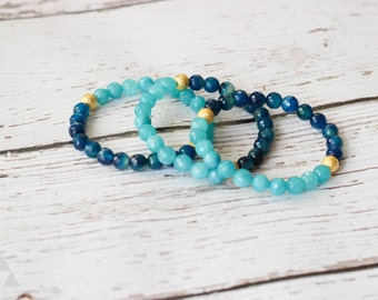 blue ombré + gold bracelet - color block - jade faceted bead bracelet *ready to ship*