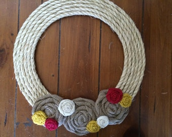 Burlap Wreath, Removable Attachment in Tan, Red, Yellow, and White Fall Burlap Wreath, Christmas Burlap Wreath, All Seasons Burlap Wreath