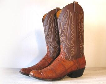 Vintage Cowboy Boots, Panhandle Slim, Brown Leather & Caramel Tan Patchwork Ostrich Skin, Men's sizing 10  D / 10.5