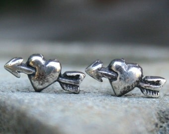 Sterling Silver Post Earrings - Arrow through Heart