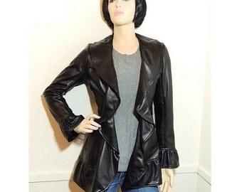 Stylish Genuine Leather Belted Coat  / Designer Black Leather Jacket  by  Legsi