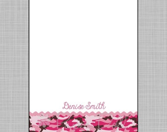 Girly Pink Camouflage - Personalized Custom Notepads - 5x7 Notepads - Design: Denise*