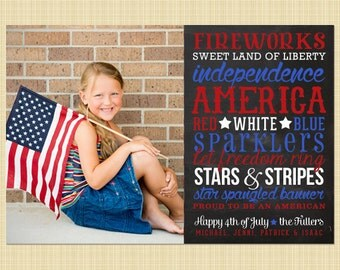 Custom 4th of July, Independence Day Photo Card - Subway Art on chalkboard
