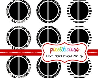 INSTANT DOWNLOAD - Beautiful Black and White Editable Bottle Cap Images- Digital Collage - JPG Editable - 1 Inch Digital Bottle Cap Images