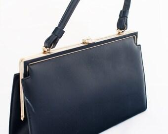 Handbag- Navy Vintage 1960s Dark Blue Rectangular Box Purse