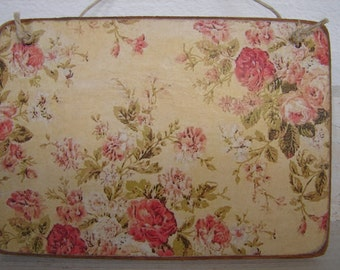 shabby old roses, vintage wallpaper image on wooden tag to hang on dresser or door etc.