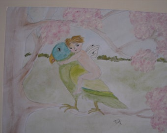 vintage, hand-painted water colour of a fairy butterfly boy & bird, inspired by Victorian fairytale books