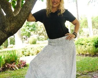 Harem pants in Cotton, Light grey/ white