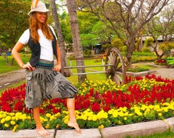 Thai pants  / Capri Pants, Batik Cotton, Hmong Hill Tribe Style, Black&White Asian Floral Print w Blue Details men and women by amonchai
