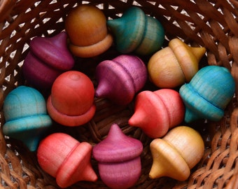 Pastel Colored and Polished Wooden Acorns - Waldorf Inspired Pieces for Creative Learning & Play