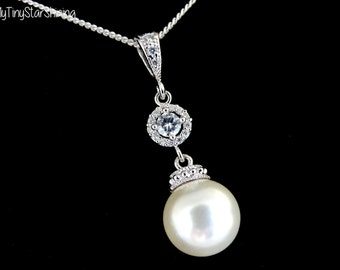CREAM Pearl Necklace Cream Pearl Sterling silver Necklace IVORY pearl Necklace Bridesmaids Gift Bridal Necklace Cubic Zirconia