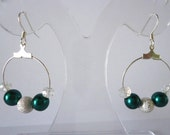 Green Pearl Crystal Hoop Earrings with Silver colour sparkle bead Fashion Trend Drops by JulieDeeleyJewellery on Etsy Ladies Jewelry