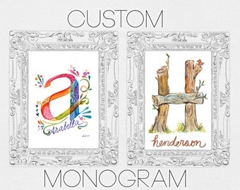 Your Own Personalized Monogram Letter 5x7 inch Commissioned Professional Painting of your name or personal gift
