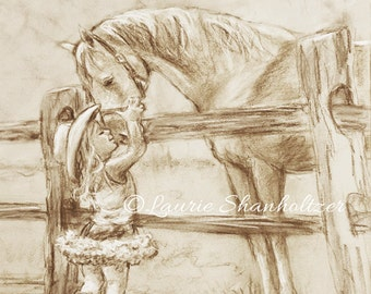 "girl and horse, ""Cowgirl Whispers""  monotone Flat  canvas print of original, child wall art, horse art,  Canvas prints, Laurie Shanholtzer"