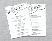 Printable Wedding Menu Template - Wedding Reception Menu - Instant Download - DIY MS Word Template
