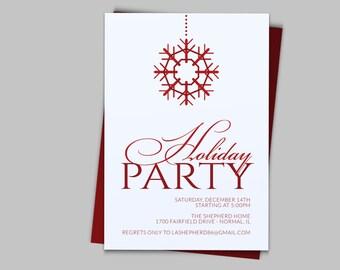 Snowflake Holiday Party Invitation - Custom Printable PDF