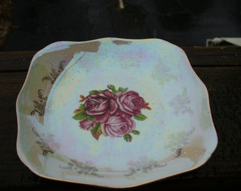 Opal Plate with Roses