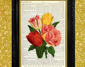 TULIPS PRINT on Vintage Dictionary Page, Upcycled Dictionary Page Art Print, Floral Series