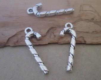35pcs of  Antique silver cane pendant charm 9mmx27mm