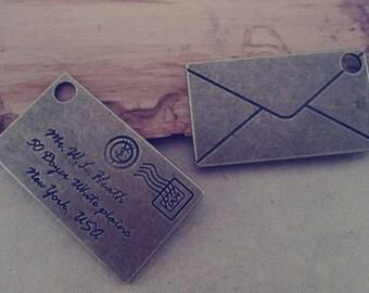10pcs  Antique bronze envelope charm pendant  24mmx40mm