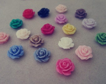 25pcs  Mixed color 10mm Resin Flowers Rose
