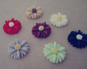 25pcs  Mixed color  sunflower Resin Flowers 13mm