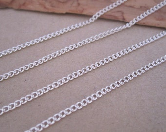 6.6ft (2m) Silver color necklace chain 1mmx2mm