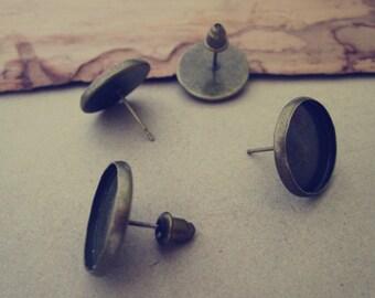 10pcs 14mm Antique Bronze (copper)  Ear hammer  Base